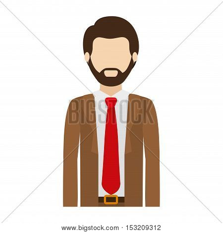 avatar man wearing suit and tie over white background. vector illustration