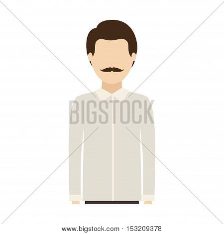 avatar man with mustache wearing white shirt over white background. vector illustration