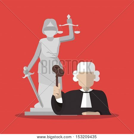 Statue and judge icon. Law justice legal and judgment theme. Colorful design. Vector illustration