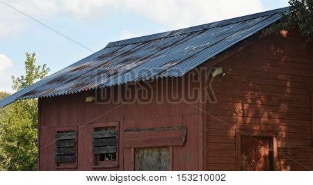in shade tin roof rusted boarded red barn house abondoned