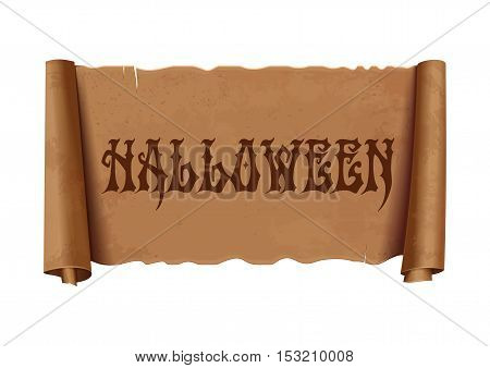 Halloween design. Scroll greeting ribbon. Antique papyrus with inscription - Halloween. Vintage curved, brown banner isolated on white background. Vector illustration