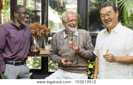 Group Of Senior Retirement Party Dining Concept