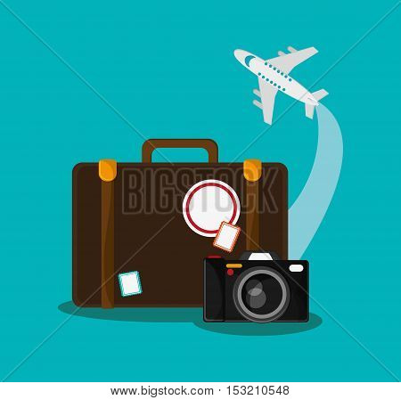 Baggage airplane and camera icon. travel trip vacation and tourism theme. Colorful design. Vector illustration