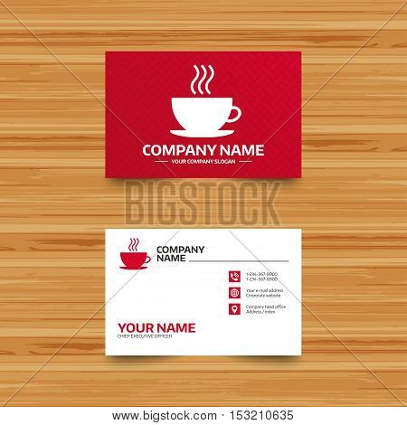 Business card template. Coffee cup sign icon. Hot coffee button. Phone, globe and pointer icons. Visiting card design. Vector