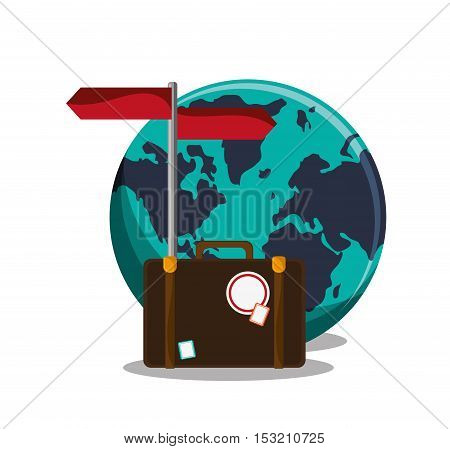 Baggage and planet icon. travel trip vacation and tourism theme. Colorful design. Vector illustration