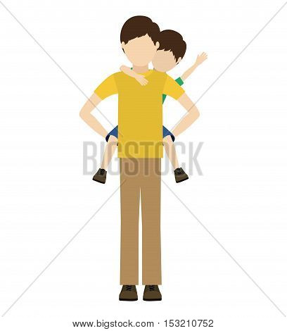 avatar man dad carrying his son on his shoulders over white background. vector illustration