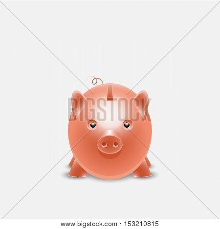 Piggy bank money box isolated on white photo-realistic vector illustration