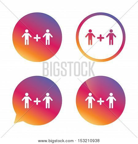 Couple sign icon. Male plus male. Gays. Gradient buttons with flat icon. Speech bubble sign. Vector
