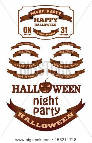 Set Halloween ribbons and labels with inscriptions. Halloween design, elements, symbols and attributes for your design. Vector illustration