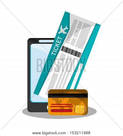 Smartphone credit card and ticket icon. travel trip vacation and tourism theme. Colorful design. Vector illustration