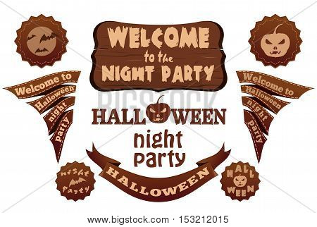 Halloween elements set for design and layout. Halloween different labels and ribbons with inscriptions. Halloween symbols and attributes. Vector illustration