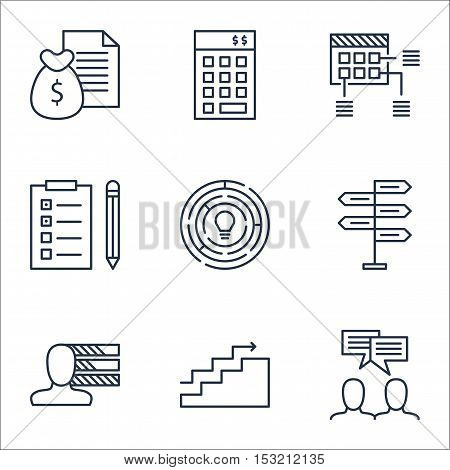 Set Of Project Management Icons On Innovation, Personal Skills And Discussion Topics. Editable Vecto