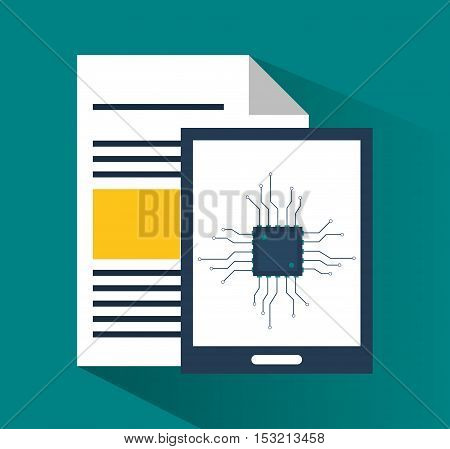 Tablet and document icon. digital marketing media and seo theme. Colorful design. Vector illustration