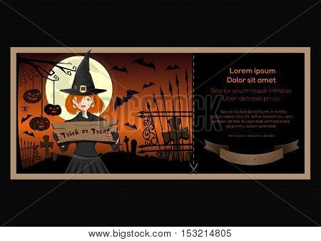 Ticket halloween party. Halloween colorfull banner with message and pretty young witch, Halloween jack-o'-lantern, graveyard, full moon. Vector illustration