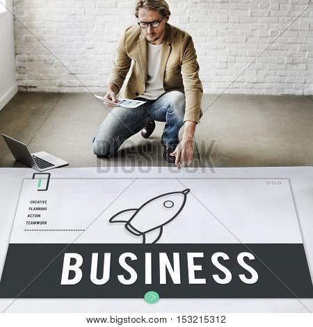 Business Rocket Ship Icon Graphic Concept