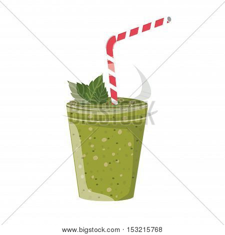 green juice smoothie on plastic cup with straw and leaves decorations over white background. vector illustration