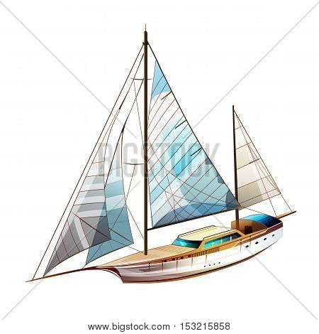 Yacht sailing illustration on a white background