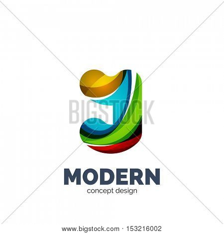 Modern abstract futuristic vector logo. Minimal clean geometric design, created with overlapping waves