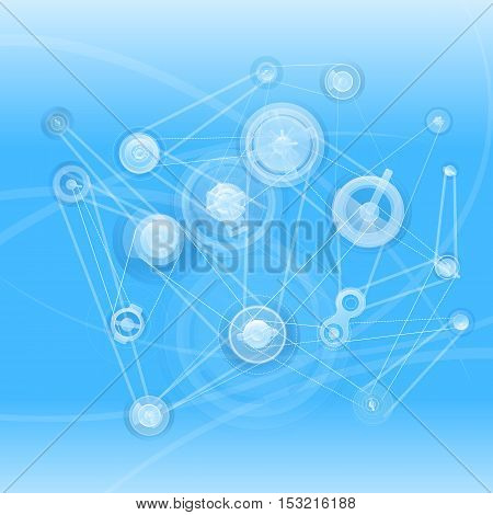 Stylish background with the mechanisms and line elements on a blue background.