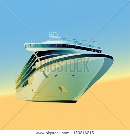 Ocean liner  illustration on a gradient background