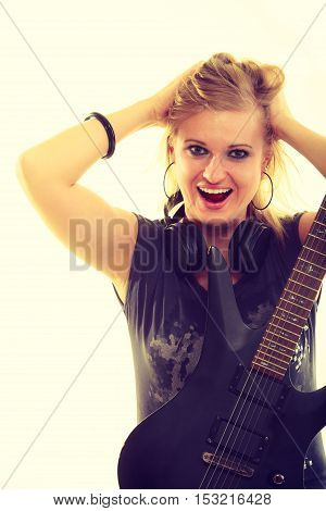 Blonde Girl With Electric Guitar.