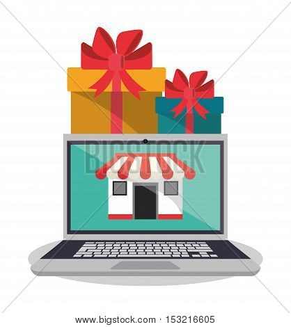 Laptop gift and store icon. Shopping online ecommerce media and market theme. Colorful design. Vector illustration