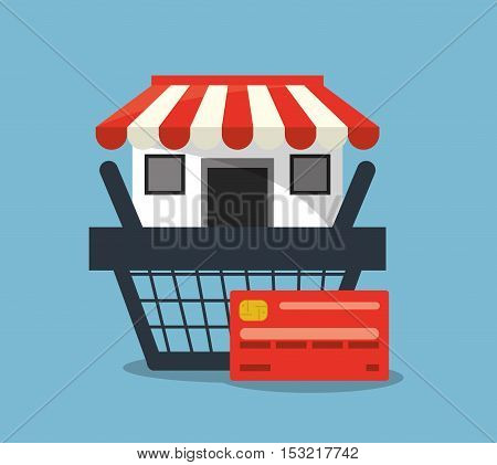 Store basket and credit card icon. Shopping online ecommerce media and market theme. Colorful design. Vector illustration