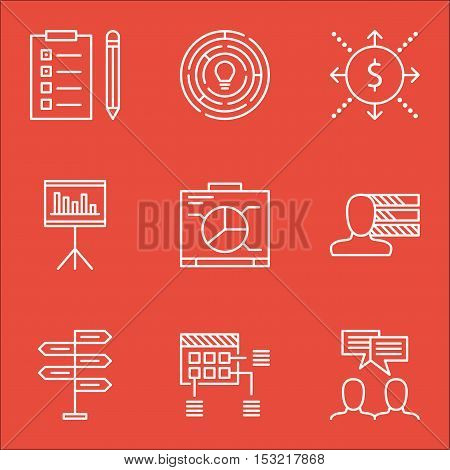 Set Of Project Management Icons On Discussion, Board And Reminder Topics. Editable Vector Illustrati