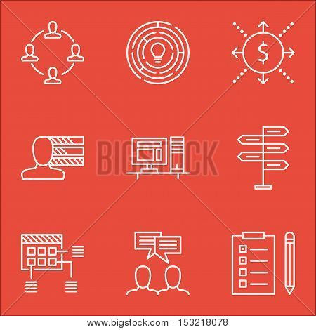 Set Of Project Management Icons On Personal Skills, Computer And Collaboration Topics. Editable Vect