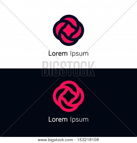 Flower flat iconic logo rose minimalistic sign vector design