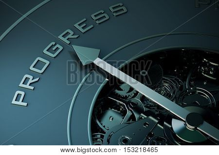 3D Rendering of Compass arrow pointing to the word progress