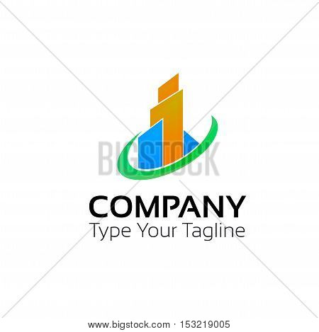 Abstract business building logo company sign vector design