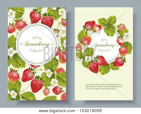 Vector strawberry vertical banners. Design for tea, natural cosmetics, beauty store, dessert menu, organic health care products, perfume, aromatherapy. With place for text