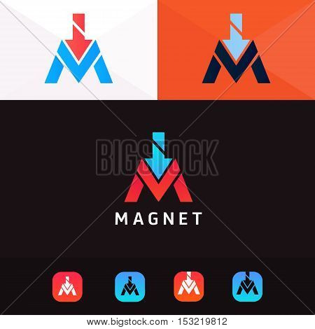 Abstract M letter logo sign symbol element icon vector design