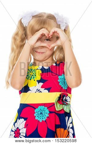 Beautiful little girl with long blond hair braided in ponytails , folded palms heart-Isolated on white background