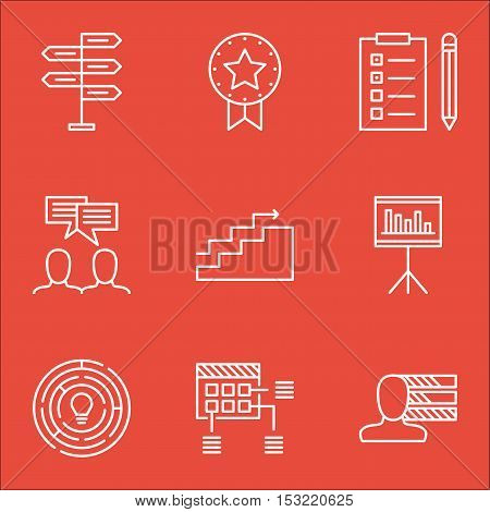 Set Of Project Management Icons On Present Badge, Growth And Innovation Topics. Editable Vector Illu