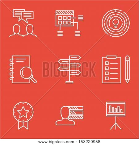 Set Of Project Management Icons On Personal Skills, Opportunity And Analysis Topics. Editable Vector