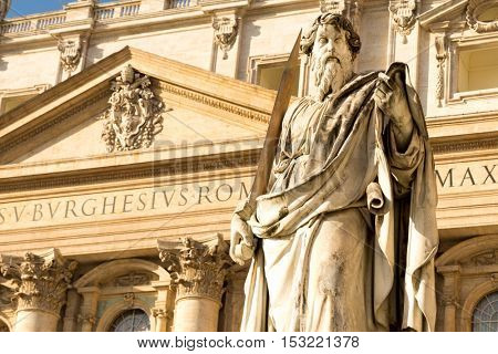 Statue of Apostle Paul in front of the Basilica of St. Peter, Vatican, Rome, Italy