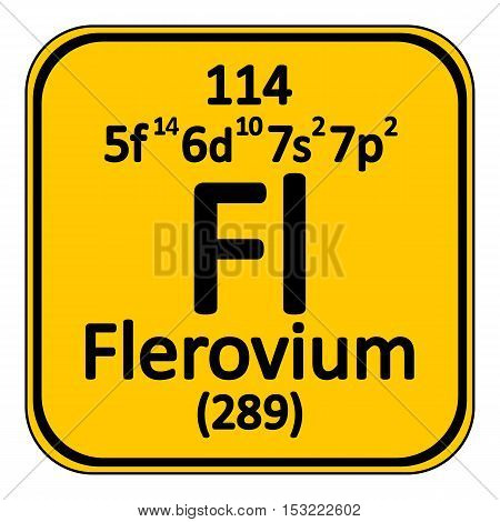Periodic table element flerovium icon on white background. Vector illustration.