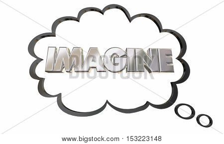 Imagine Create Innovate Imagination Thought Cloud Bubble 3d Illustration