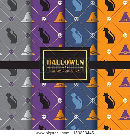 Halloween pattern set. Set of 4 different colour of halloween background. vector illustration. Black cat, witch hat & skull.