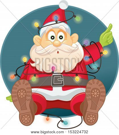 Funny Santa Tangled in Christmas Lights Vector