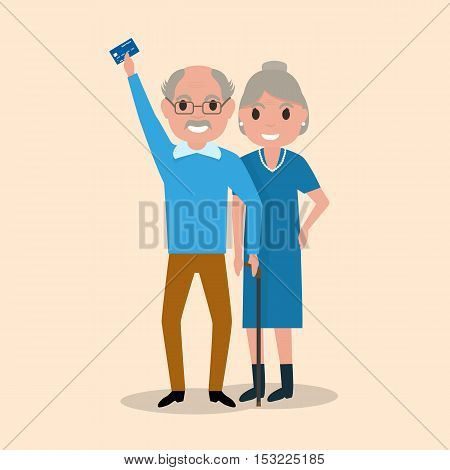Vector illustration grandfather and grandmother got a plastic credit card. Old man holding an electronic card payments. Receive a pension. Loan for pensioners. Concept of a happy old age, retirement.