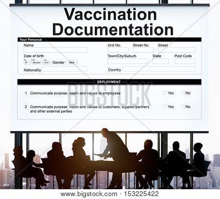 Vaccination Documentation Application Form Concept