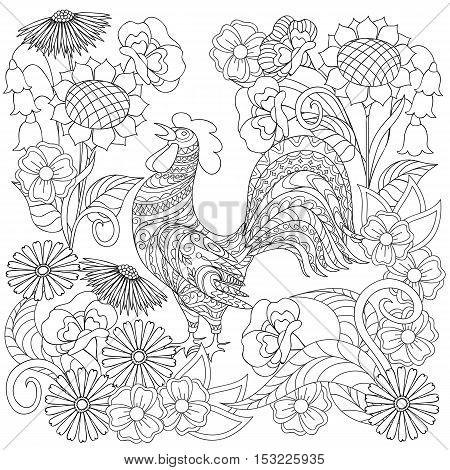 Hand drawn decorated rooster and flowers in ethnic style isolated on white. Image for adult and children antistress coloring book page decorate dishes cups porcelains t-shirts dresses bags tunics. EPS 10.