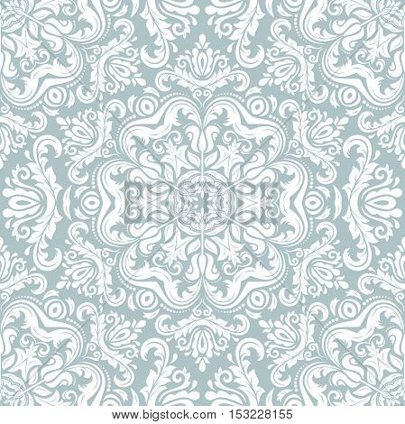 Oriental classic pattern. Seamless abstract background with repeating elements. Light blue and white pattern