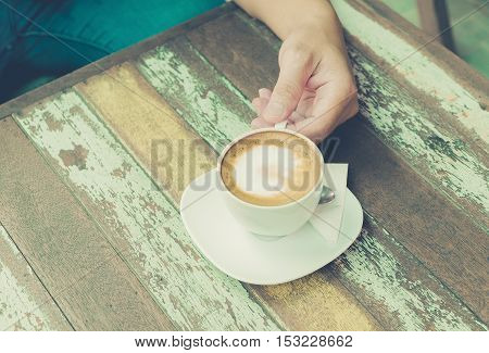 Coffee cup of happiness concept. Retro style