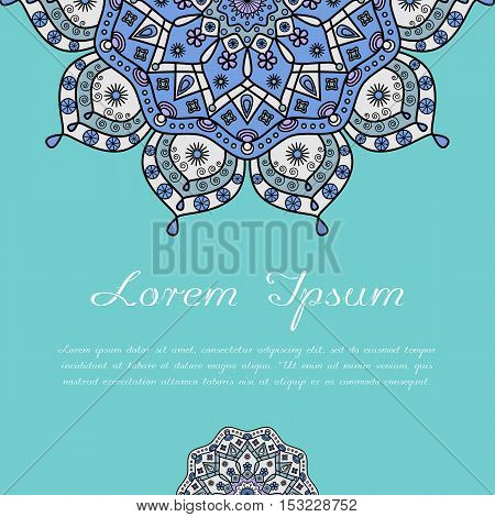 Festive ethnic oriental card template for greeting, reminder, inspirational, note & table cards & post cards, wedding invitations.