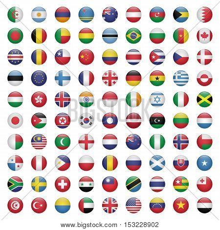 Set of circle flag icons isolated on white background vector illustration
