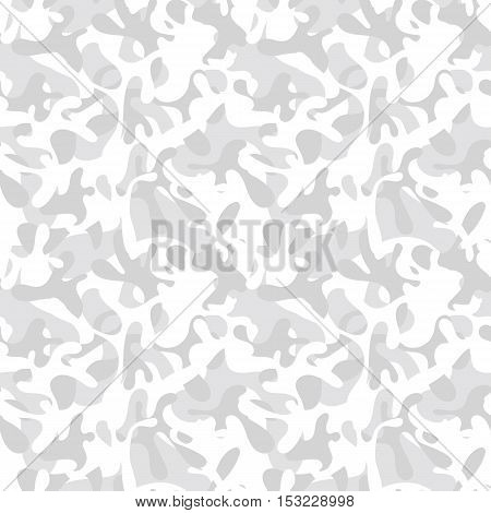 Seamless white & gray snow camouflage pattern. Arctic military & hunting clothing textile design. Tundra camo truck wrap & cover print.
